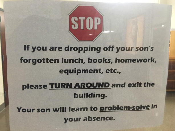 School puts helicopter parents on notice