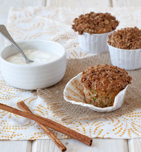 With oat crumble topping and dollop of sweetened creme fraiche, these are the best Apple Zucchini Muffins ever!