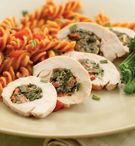 Chicken Florentine Roll-Ups are not only delicious, but an extremely eye appealing main (Just check out the picture!)
