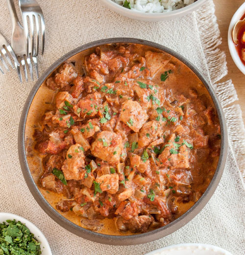 Chicken Tikka Masala: Curried Chunks o' chicken simmered in a spicy tomato and cream sauce is a surprisingly easy to make main