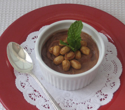 Chocolate Caramel Mousse with Candied Peanuts: Simple to prepare. Makes an unusual garnish. Rich and indulgent