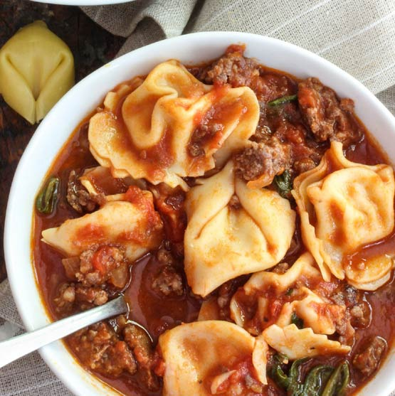 Say hello to soup season with Italian Sausage and Tortellini Soup