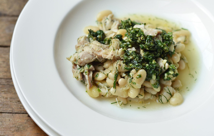 Lemon Braised Chicken and Beans with Mint Pesto is a sumptious symphony of flavors, easily prepared