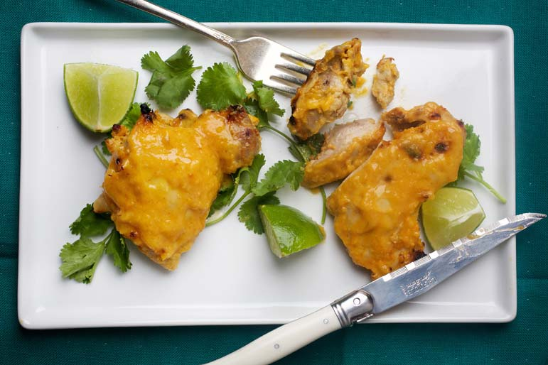Mango and chicken meet, marry well and happiness ensues: This healthful dish uses Asian-style marinade that hits every single taste bud