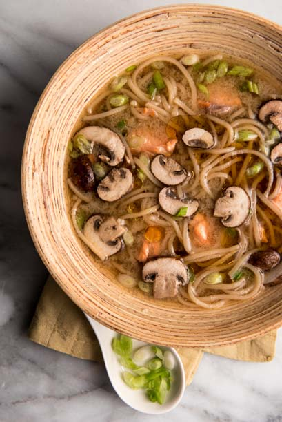 Poached Salmon Soup With Udon and Mushrooms is light, quick, highly satisfying --- and delicious