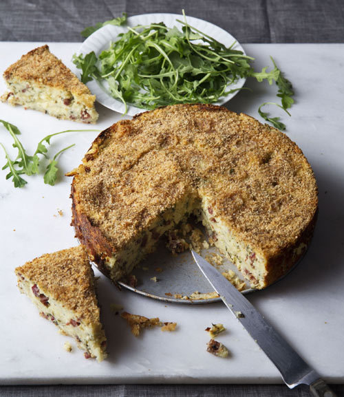 Potato and (vegan) salami cheesecake is killer and versatile --- an original appetizer for a fancy dinner party,  excellent sideman to a light main course, or a great lunch