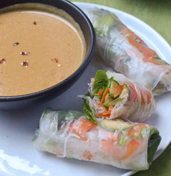 Cooking lesson: How to make Vietnamese summer rolls with spicy peanut sauce