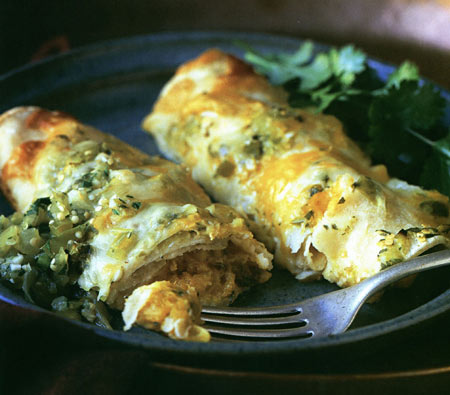Savory yet slightly sweet and tangy with a  hard to resist richness, winter squash and corn enchiladas with salsa verde and chipotle cream will brighten up any meal
