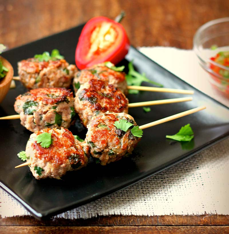 Addictively Good (and Fragrant): Asian Turkey Meatballs With Chili Sauce . . . On a Stick