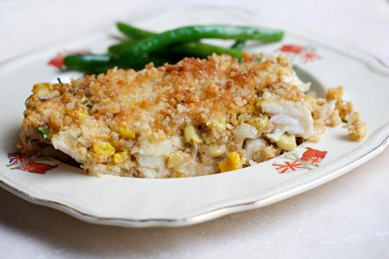 Cod and Corn Chowder Pie</B> is a  light-prep, casserole-like meal that's guaranteed to keep the fish moist and tender --- with a bit of crunch, to boot