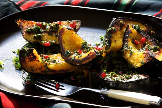 From ordinary to exceptional: Grilled Squash With Mint-Pomegranate Pesto