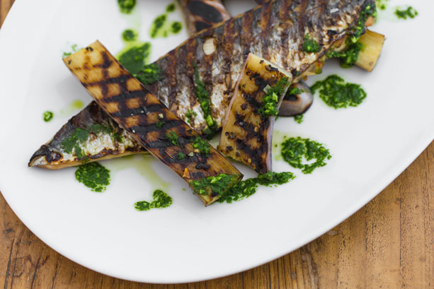 Grilled Mackerel and Eggplant with Salsa Verde isn't for Italian purists --- but oh is it ever delicious!