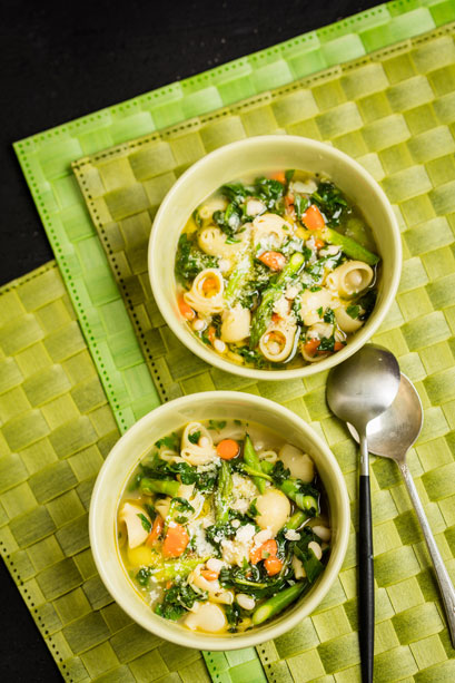 The veggies of summer are just right for silky, green, and creamy minestrone