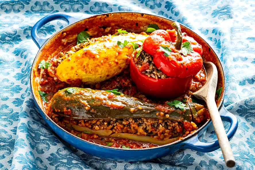 Whole stuffed vegetables with warm Middle Eastern spices make for a comforting one-pot meal
