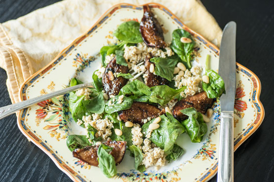 Charred Fig and Spinach Salad With Lemon Tofu 'Feta' is a light, flavorful main masquerading as a summer side salad