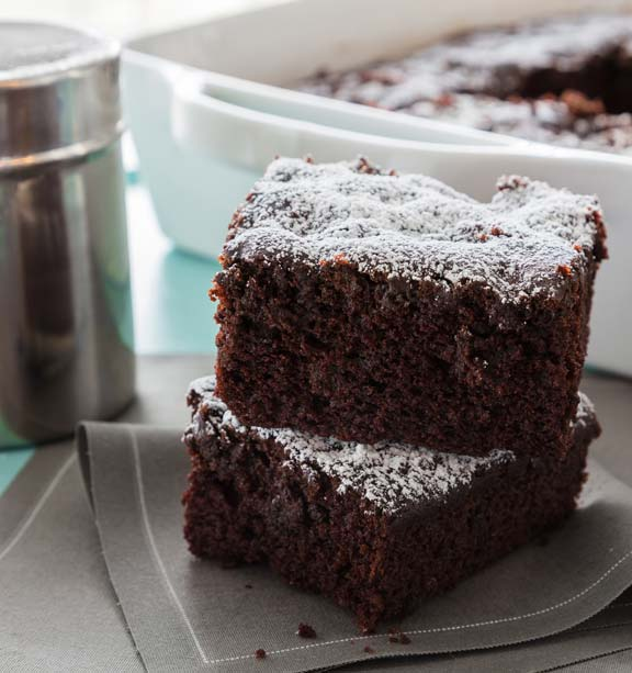 Double Chocolate 'War' Cake is big flavor, moist, fudgy crumb and one-pan ease --- and what it <I>is</I> missing, you won't